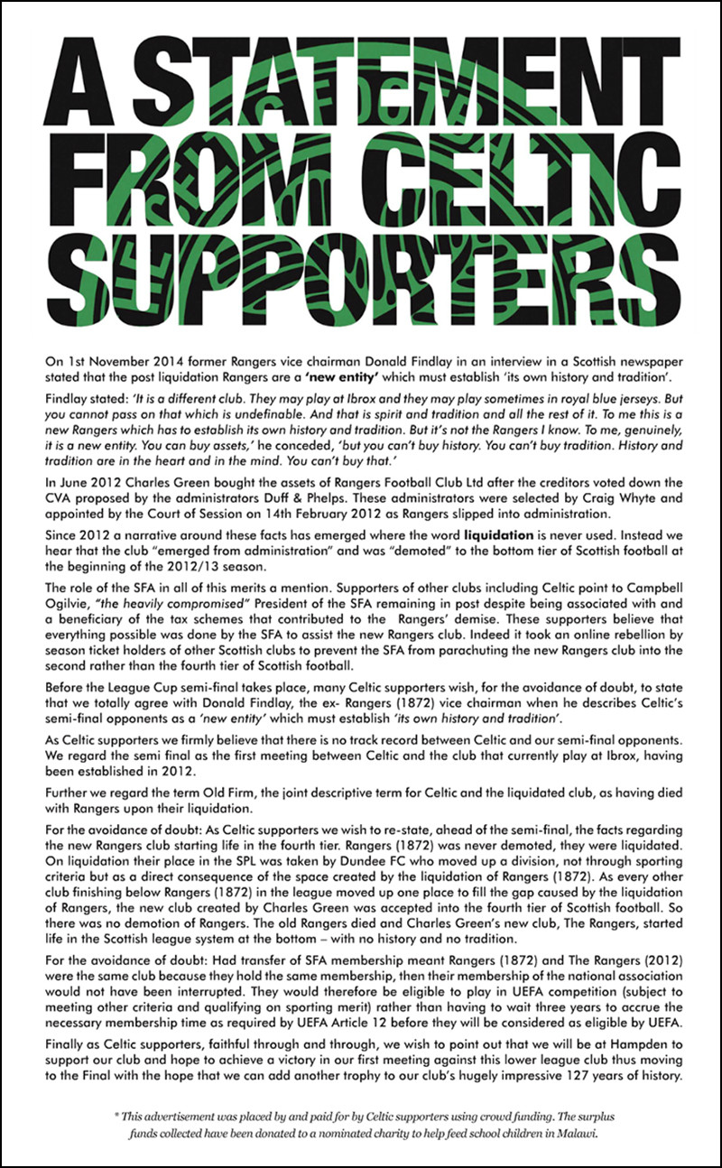 Sunday Herald: A Statement From Celtic Supporters