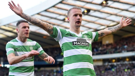 Leigh Griffiths celebrates goal against Sevco by doing The Broony