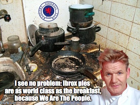 Ibrox kitchen gigged for unsanitary pies.