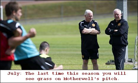 July: The last time this season you will see grass on Motherwell's pitch.