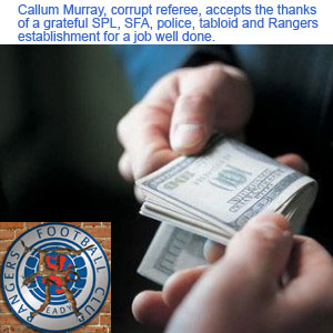 Callum Murray, corrupt referee, accepts thanks for a job well done